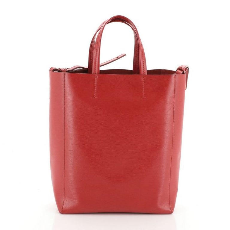Red Celine Vertical Cabas Tote Grained Calfskin Small