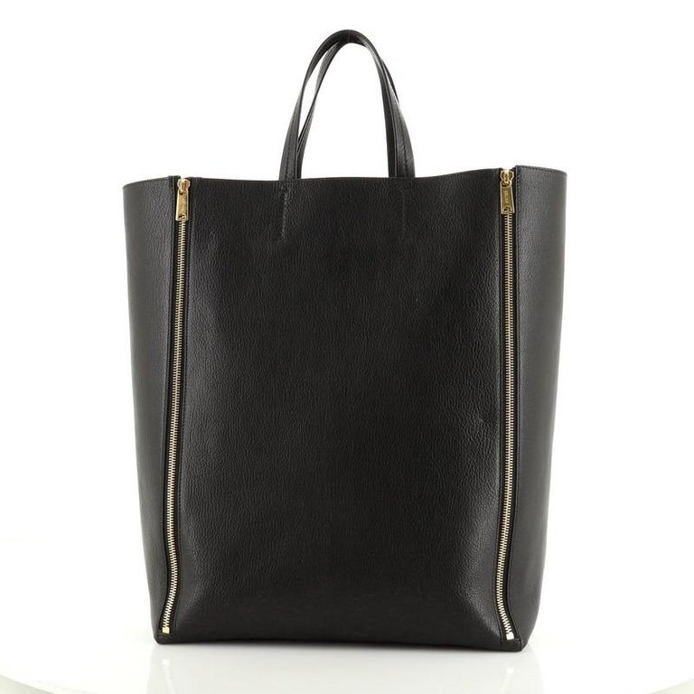 Celine Vertical Gusset Cabas Tote Leather Large In Good Condition For Sale In New York, NY