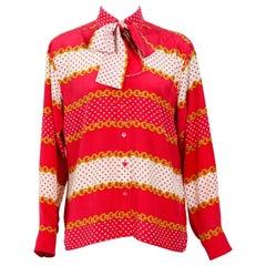 Celine vintage 100% silk chain print neck tie shirt