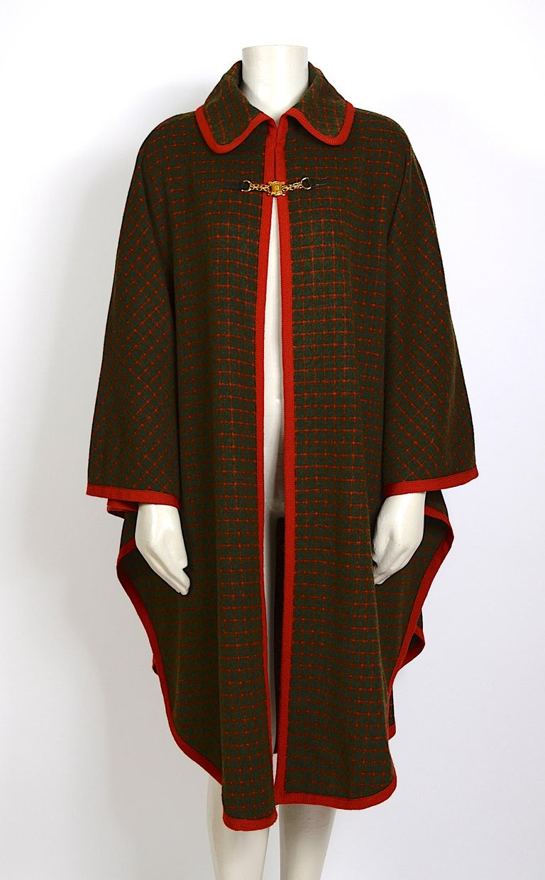 Vintage 1970s wool cape by Celine Size free Measurements are taken flat. Wide 54inch/137cm - Total Length 43inch/110cm