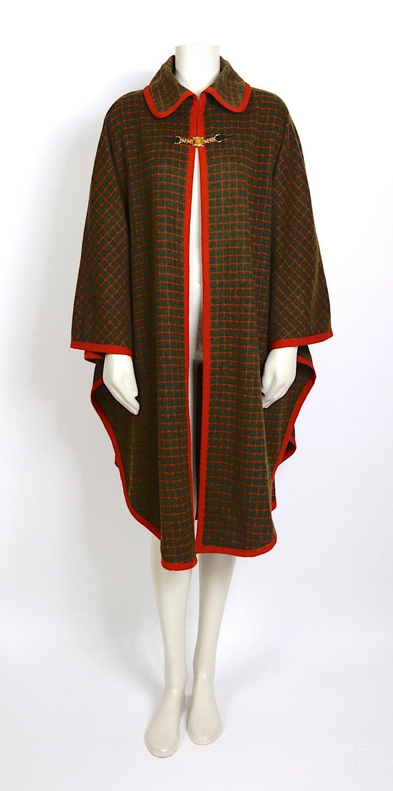 Brown Celine vintage 1970s wool cape For Sale