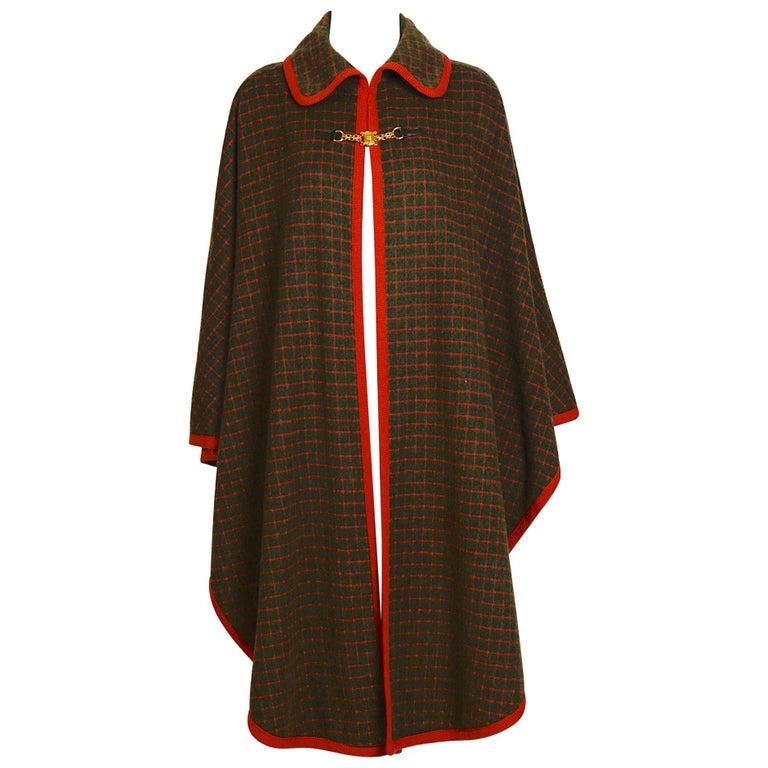 Celine vintage 1970s wool cape For Sale