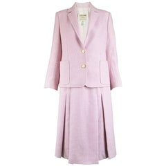 Celine Vintage Pink and White Silk and Wool Herringbone Tweed Skirt Suit, 1980s