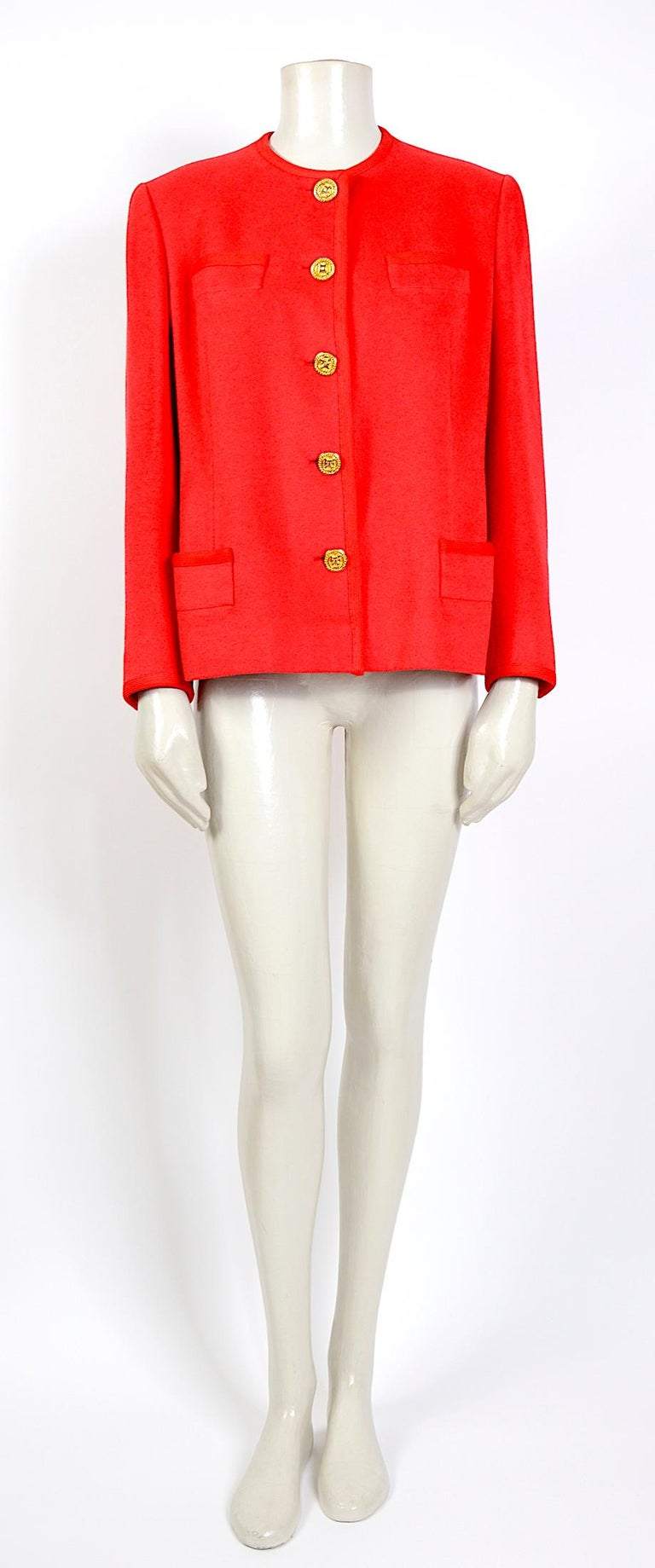 Adorable vintage Celine red wool with gold signature buttons jacket. Fully lined - In good vintage condition - no damage No size label, please go by the measurements that are taken flat: Sh to Sh 16,5inch/42cm - Ua to Ua 21 inch/53cm(x2) - Waist