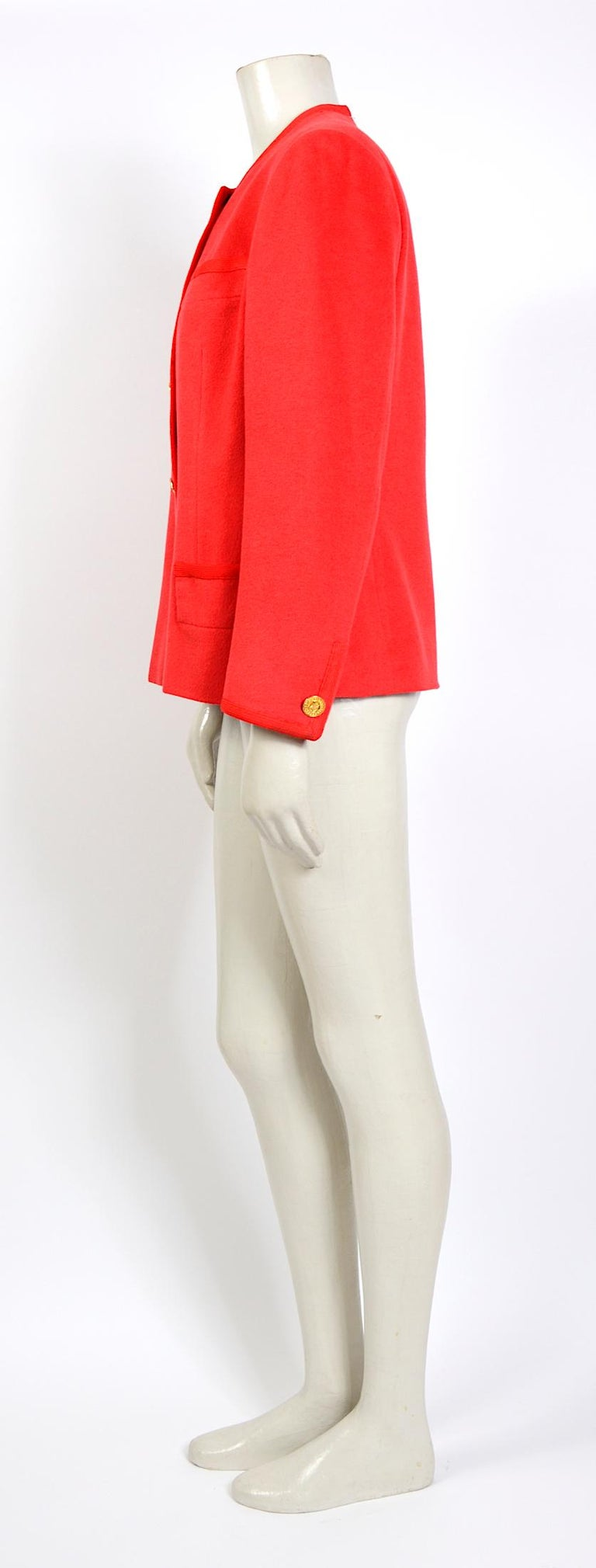 Red Celine vintage 1980s red wool jacket with signature gold buttons For Sale