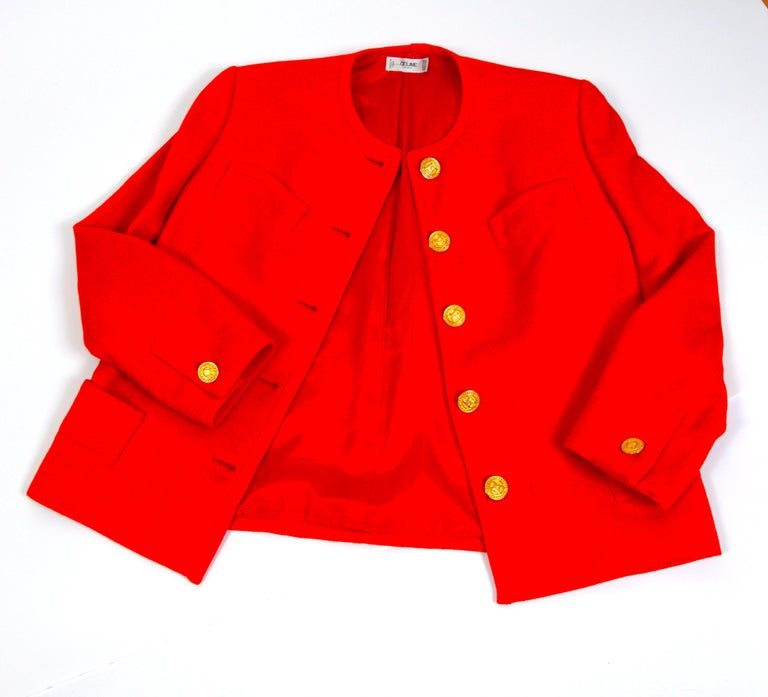 Women's Celine vintage 1980s red wool jacket with signature gold buttons For Sale