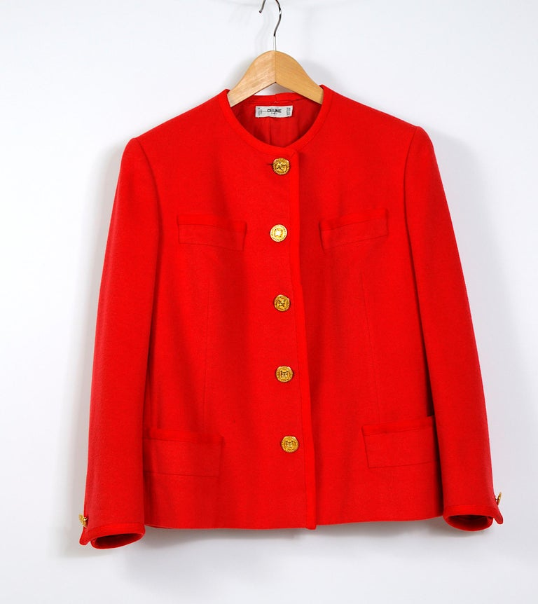 Celine vintage 1980s red wool jacket with signature gold buttons For Sale 1