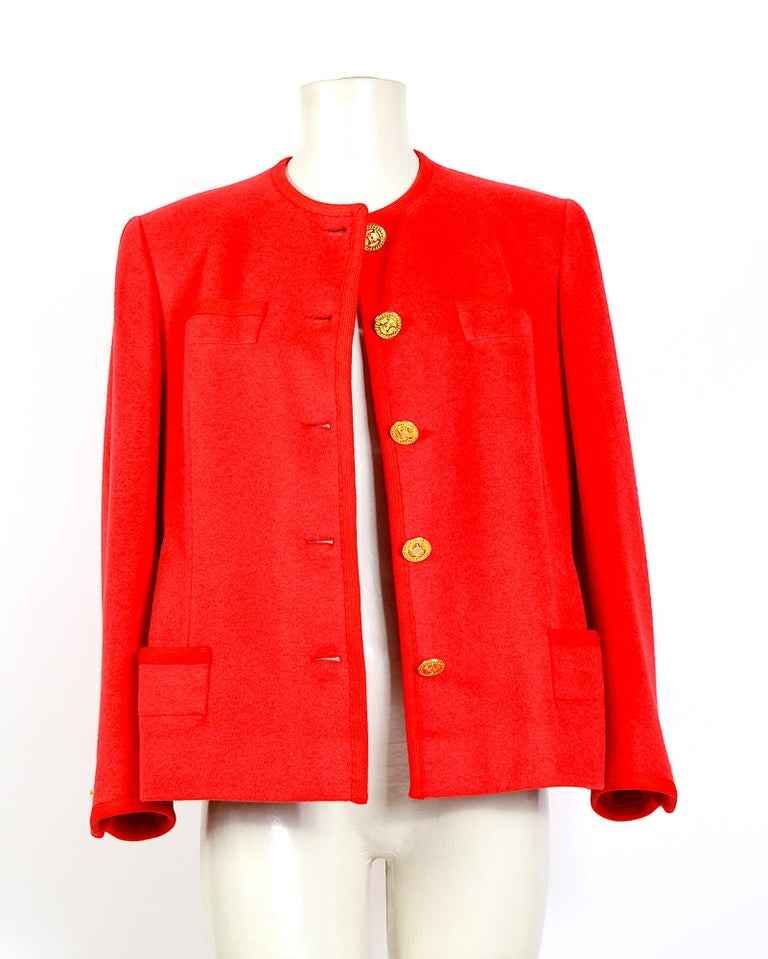 Celine vintage 1980s red wool jacket with signature gold buttons For Sale 2
