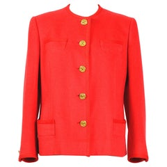 Celine vintage 1980s red wool jacket with signature gold buttons