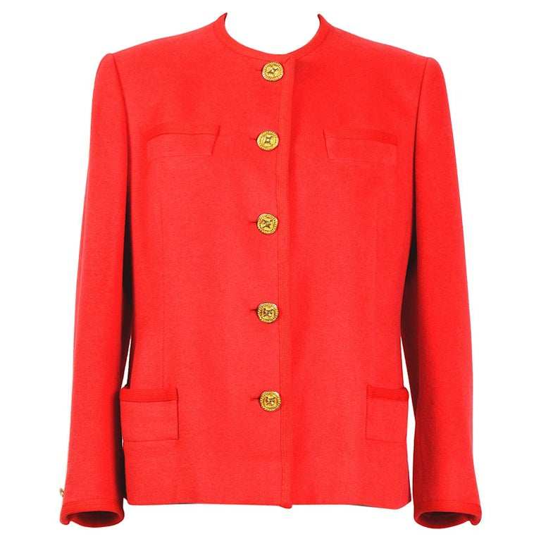 Celine vintage 1980s red wool jacket with signature gold buttons For Sale