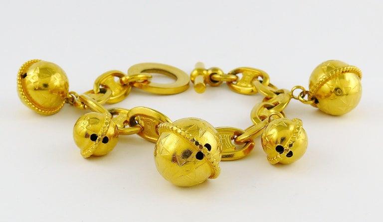 Celine Vintage 1990 Iconic Gold Toned Planisphere Charm Bracelet For Sale 3