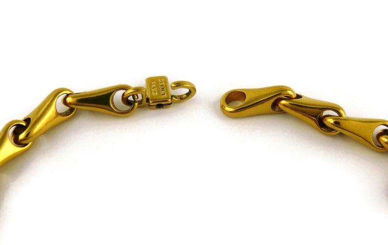 Celine Vintage 1990 Massive Gold Toned Disc Pendant Necklace For Sale 9