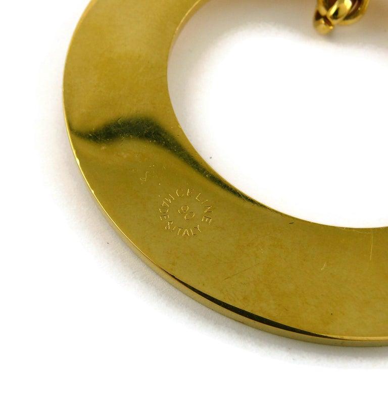 Celine Vintage 1990 Massive Gold Toned Disc Pendant Necklace For Sale 10