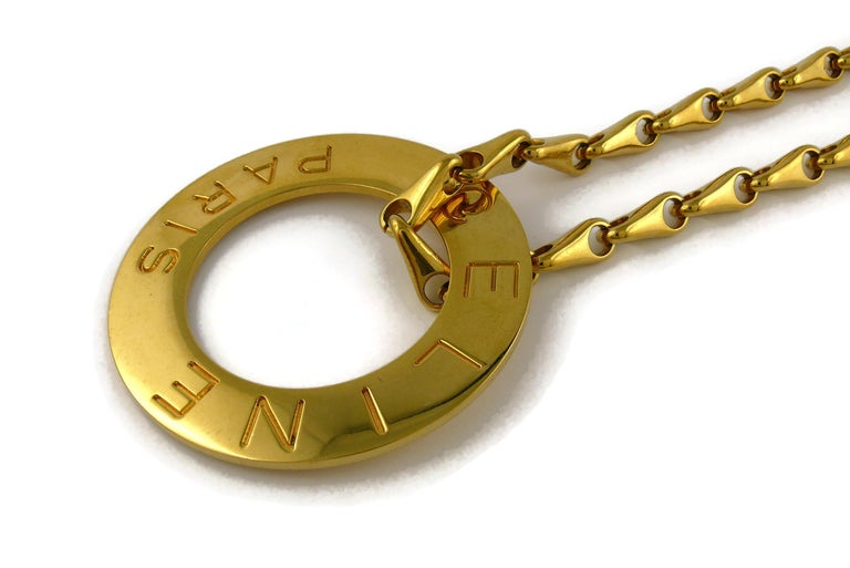 Celine Vintage 1990 Massive Gold Toned Disc Pendant Necklace For Sale 3