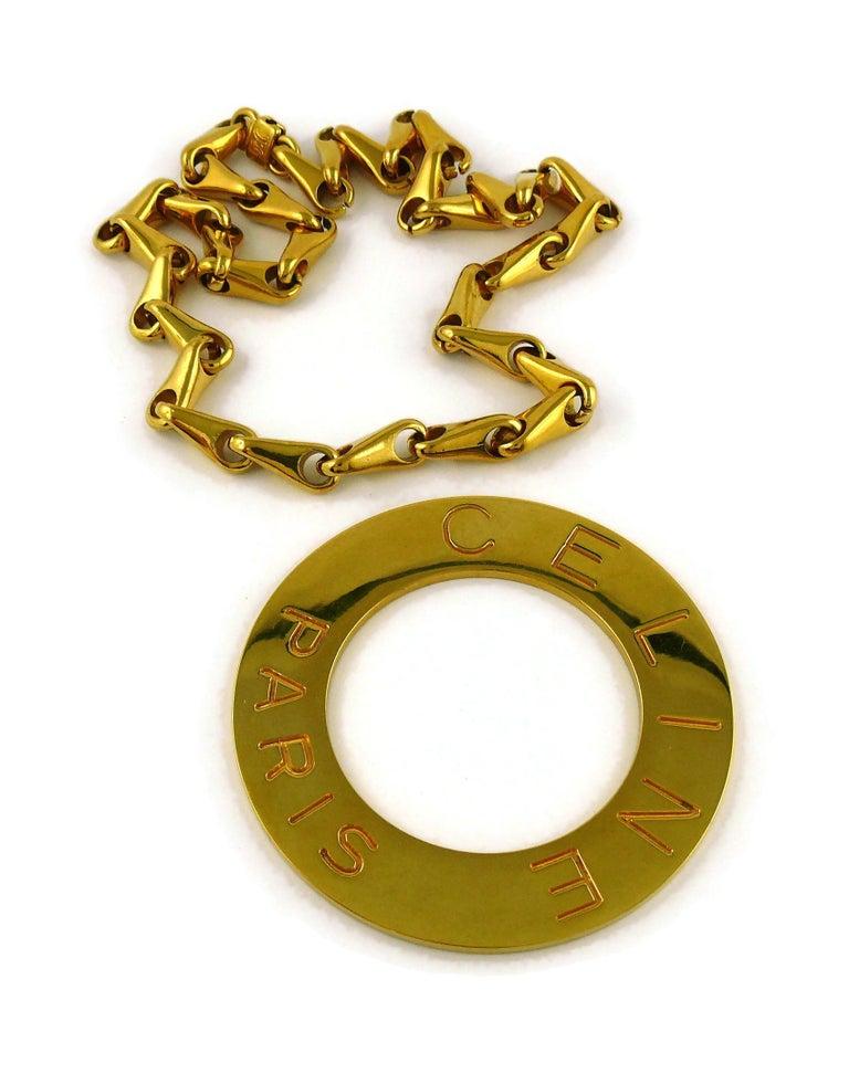 Celine Vintage 1990 Massive Gold Toned Disc Pendant Necklace For Sale 4