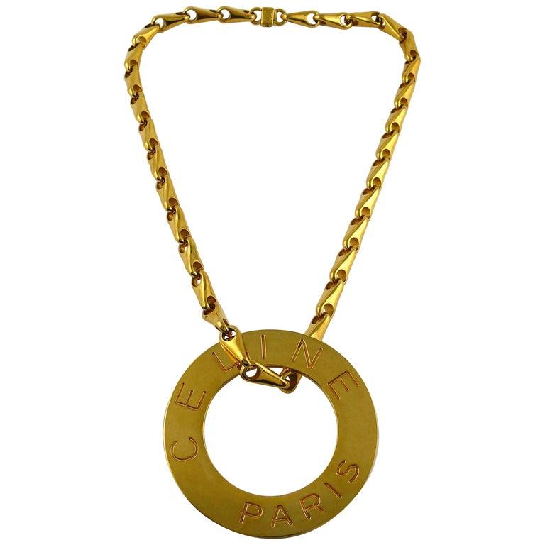 Celine Vintage 1990 Massive Gold Toned Disc Pendant Necklace For Sale