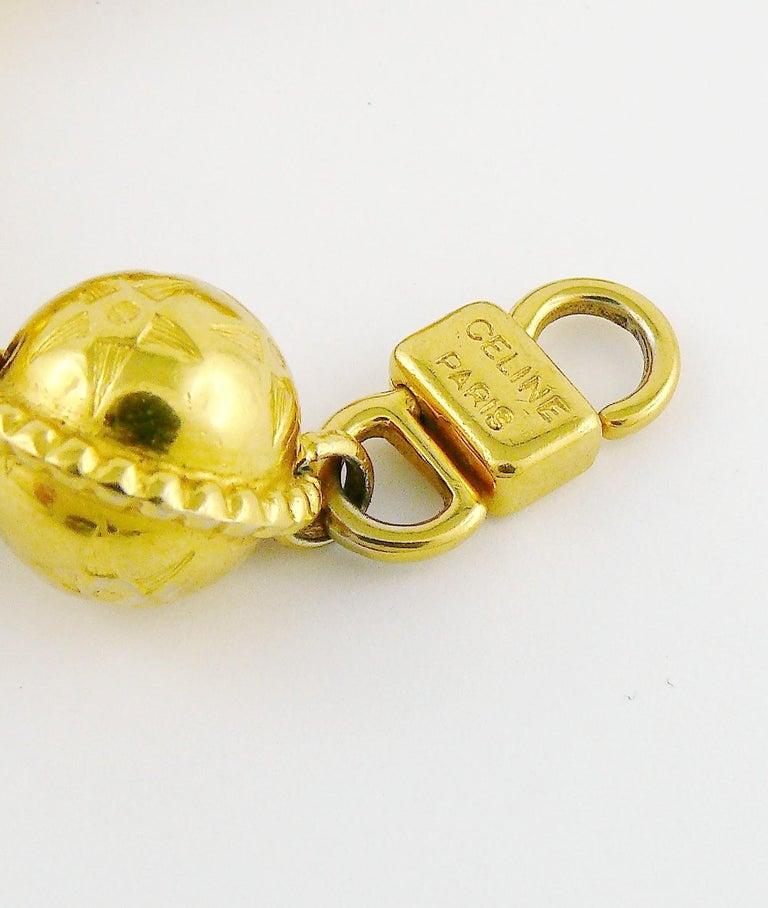 Celine Vintage 1991 Iconic Gold Toned Planispheres Bracelet For Sale 6