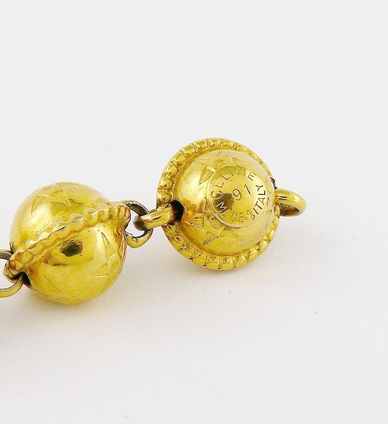Celine Vintage 1991 Iconic Gold Toned Planispheres Bracelet For Sale 7