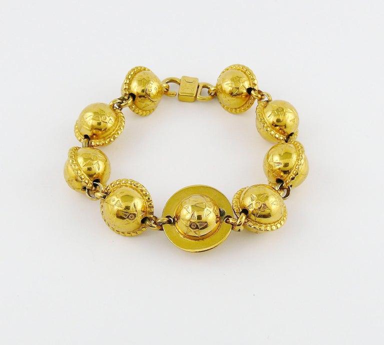 Celine Vintage 1991 Iconic Gold Toned Planispheres Bracelet For Sale 1