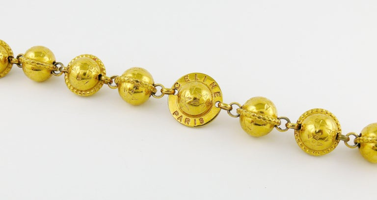 Celine Vintage 1991 Iconic Gold Toned Planispheres Bracelet For Sale 2