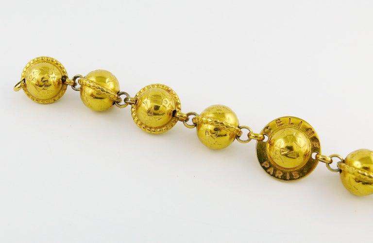 Celine Vintage 1991 Iconic Gold Toned Planispheres Bracelet For Sale 3
