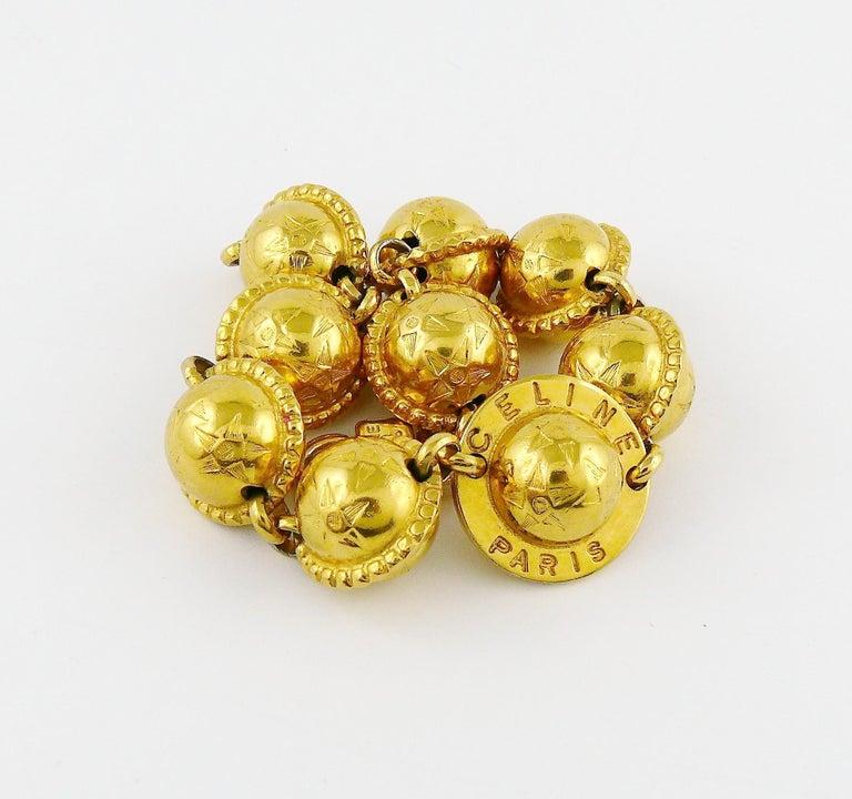 Celine Vintage 1991 Iconic Gold Toned Planispheres Bracelet For Sale 4