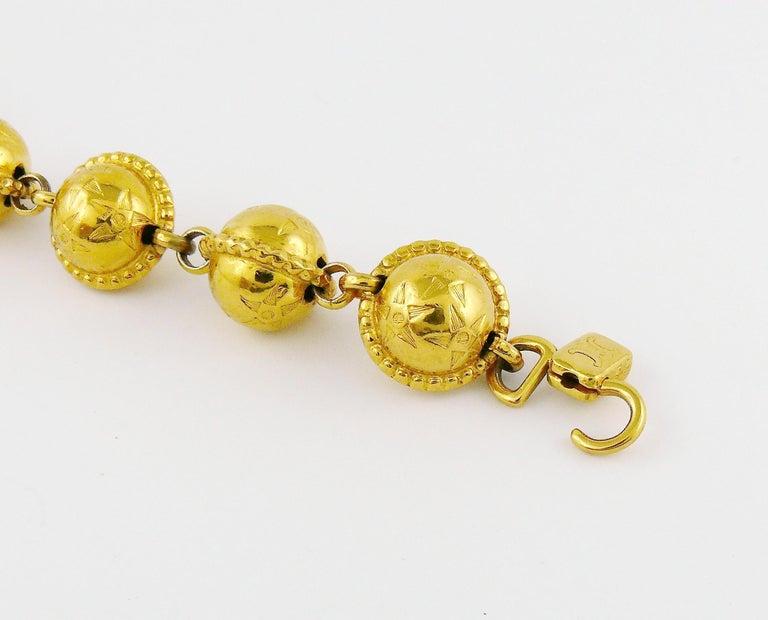 Celine Vintage 1991 Iconic Gold Toned Planispheres Bracelet For Sale 5