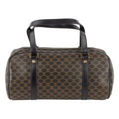 Celine Vintage Black and Brown Macadam Canvas Bowling Bag
