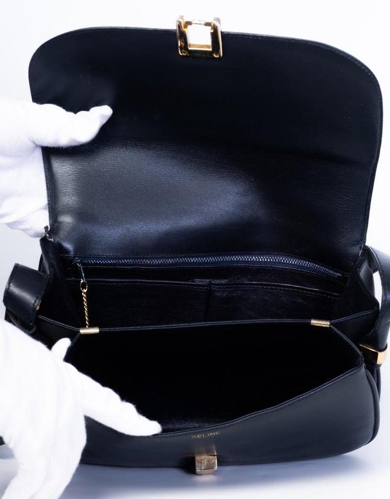 Women's Celine Vintage Black Leather Box Bag For Sale