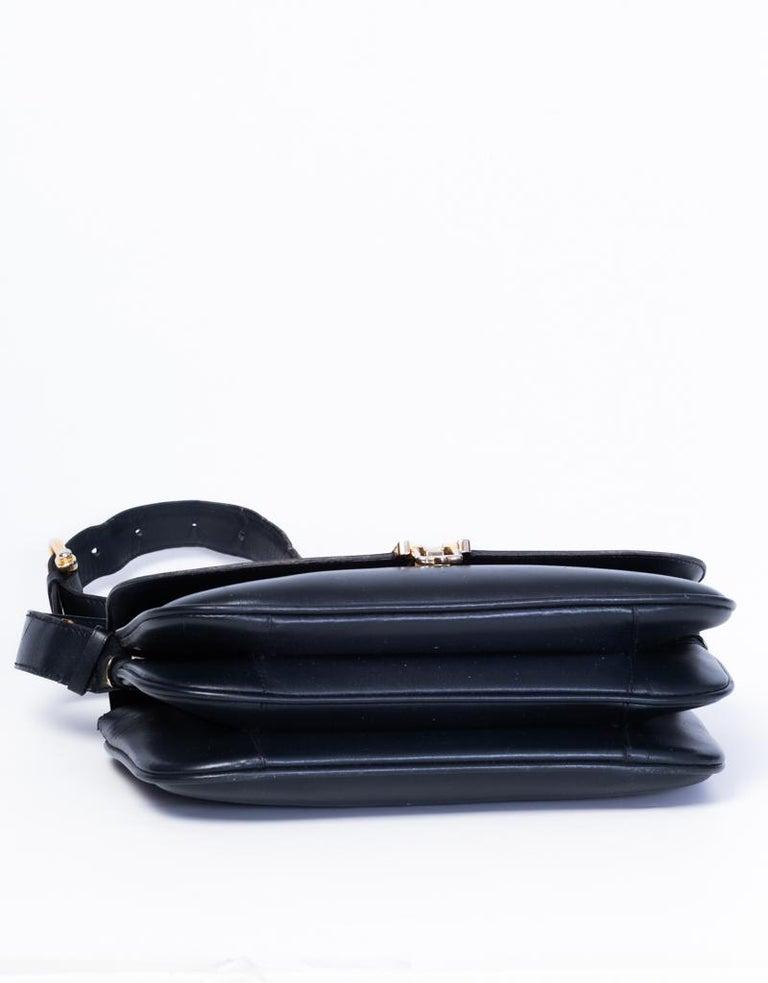 Celine Vintage Black Leather Box Bag For Sale 1