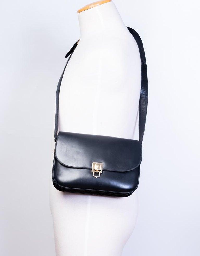 Celine Vintage Black Leather Box Bag For Sale 2