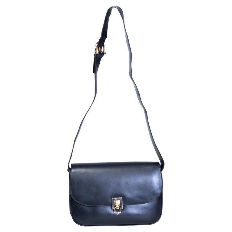 Celine Vintage Black Leather Box Bag For Sale