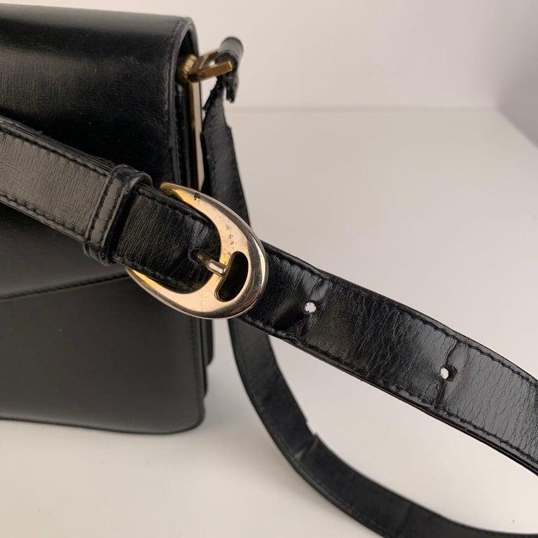 Celine Vintage Black Leather Carriage Shoulder Bag For Sale 6