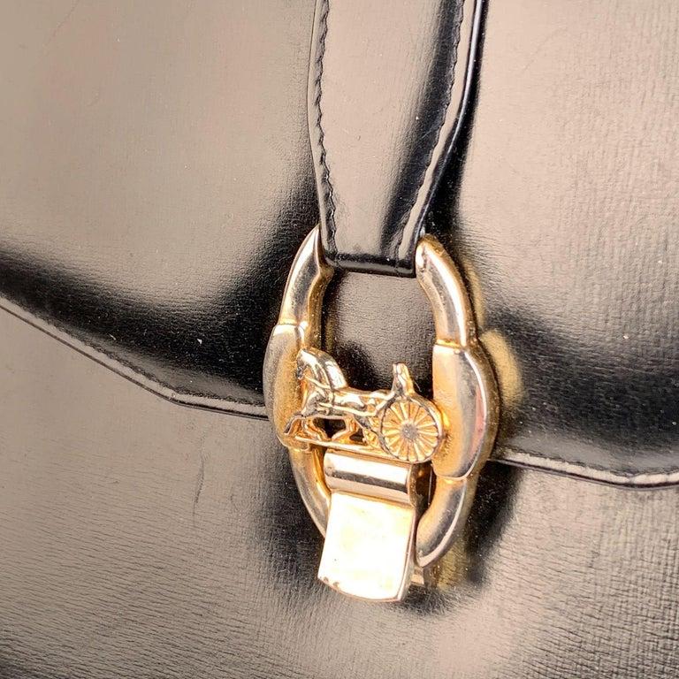 Celine Vintage Black Leather Carriage Shoulder Bag For Sale 1