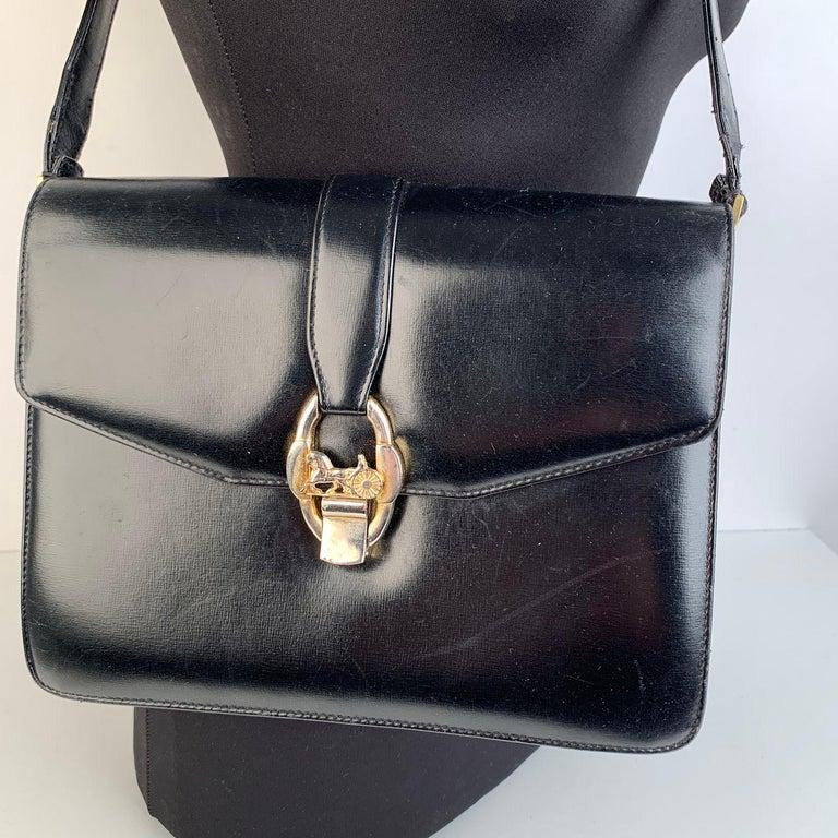 Celine Vintage Black Leather Carriage Shoulder Bag For Sale 2