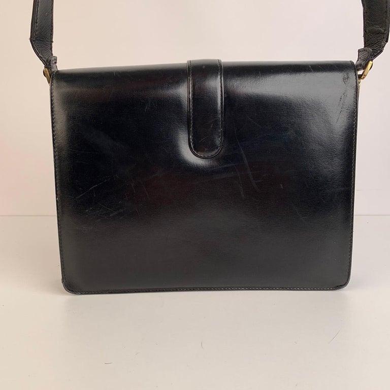 Celine Vintage Black Leather Carriage Shoulder Bag For Sale 3
