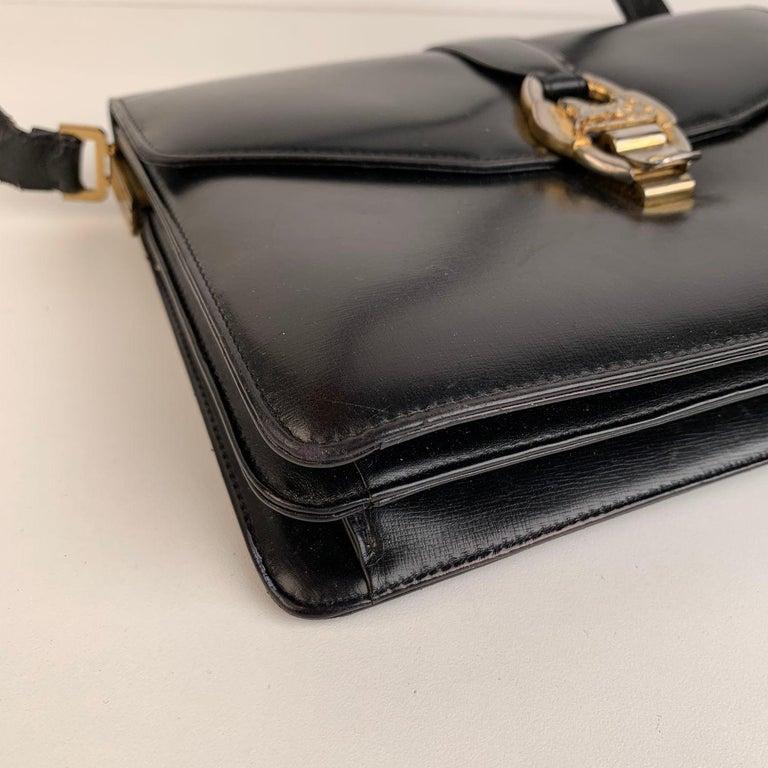 Celine Vintage Black Leather Carriage Shoulder Bag For Sale 4