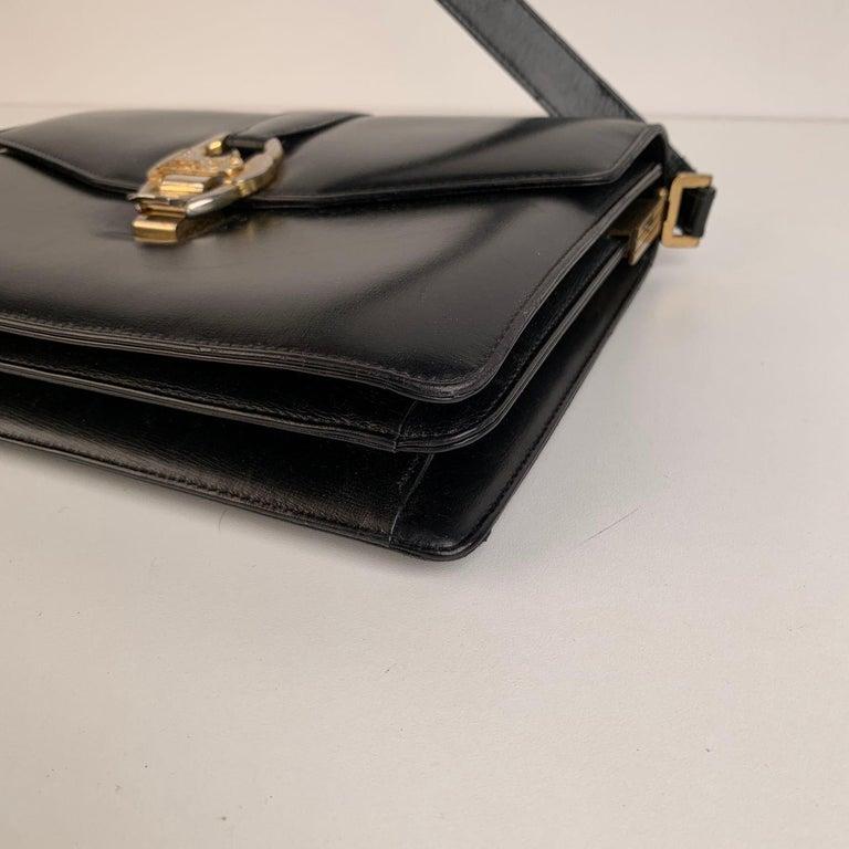 Celine Vintage Black Leather Carriage Shoulder Bag For Sale 5