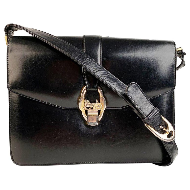 Celine Vintage Black Leather Carriage Shoulder Bag For Sale
