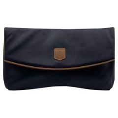 Celine Vintage Black Leather Foldable Clutch Bag Handbag