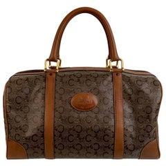 Celine Vintage Brown C Logo Canvas Carriages Boston Top Handle Bag