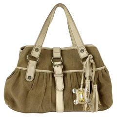 Celine Vintage Brown Canvas Leather Buckle Tote Handbag