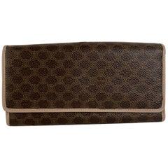 Celine Vintage Brown Macadam Camvas Continental Wallet