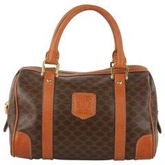 Celine Vintage Brown Macadam Canvas Boston Bag Top Handles