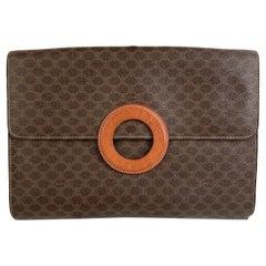 Celine Vintage Brown Macadam Canvas Clutch Bag Handbag
