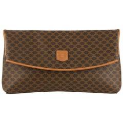 Celine Vintage Brown Macadam Canvas Foldable Clutch Bag