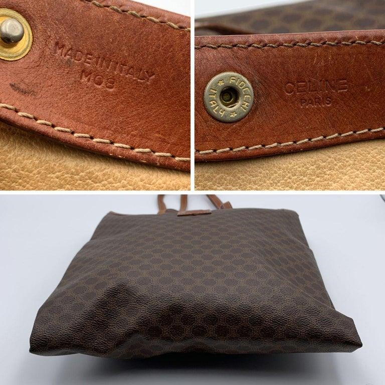 Women's Celine Vintage Brown Macadam Canvas Shopping Bag Tote For Sale