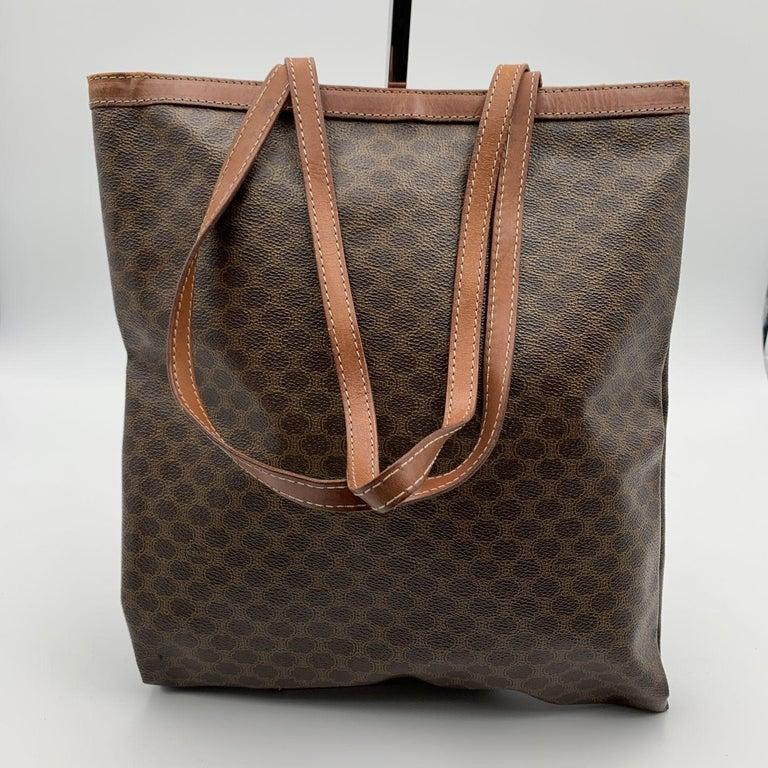 Celine Vintage Brown Macadam Canvas Shopping Bag Tote For Sale 1