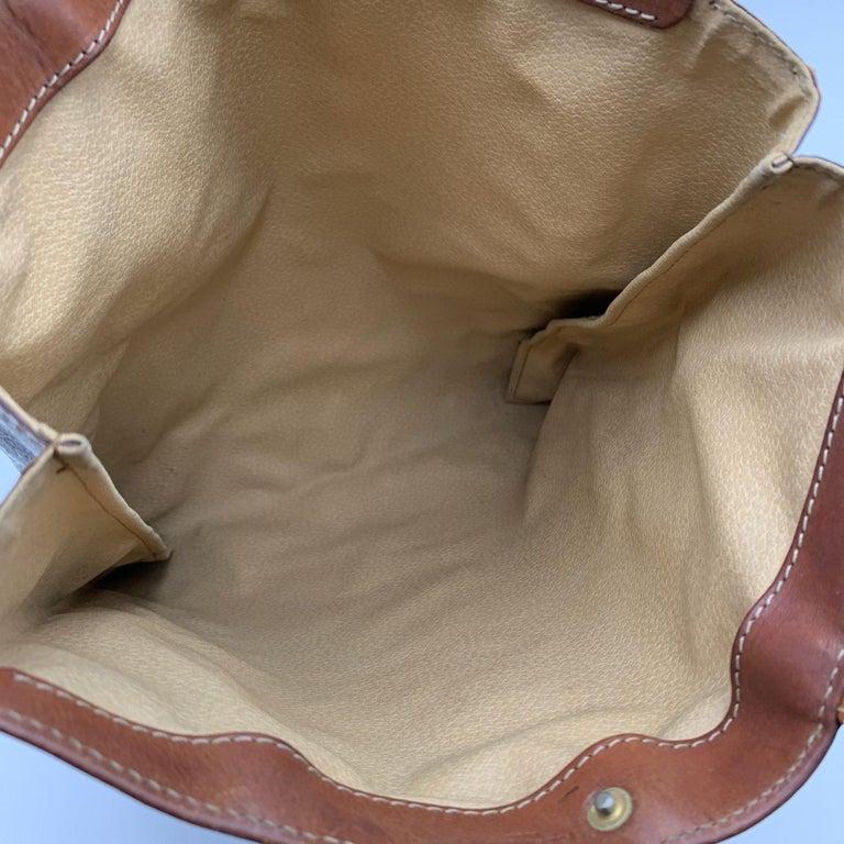 Celine Vintage Brown Macadam Canvas Shopping Bag Tote For Sale 2