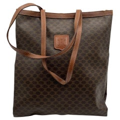 Celine Vintage Brown Macadam Canvas Shopping Bag Tote
